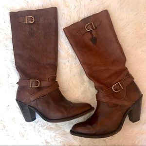 Frye Tall Buckle Wrap Boots